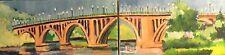 New ListingOriginal Oil Painting Key Bridge Georgetown Washington Dc