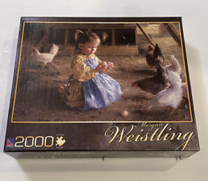 Sure-Lox 2000 Piece Puzzle Morgan Weistling The Egg Inspector Girl Chickens Coop