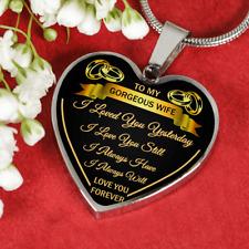 To My Wife I Love You Luxury Silver Necklace Birthday Graduation Gift Wedding