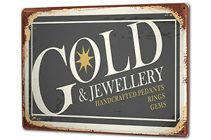 Tin Sign XXL Retro Gold and jewels metal plate plaque