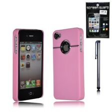 Apple Iphone 4 4s Cromo Funda Rígida Cubierta Trasera + Protector De Pantalla + Stylus Rosa