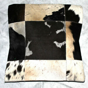 COWHIDE RUG LEATHER CUSHION COVER COW HIDE HAIR ON (15'' x 15'') PILLOW COVER