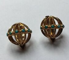 Vintage Antique  Egyptian 14ct 14k Gold Turquoise Clip On Earrings
