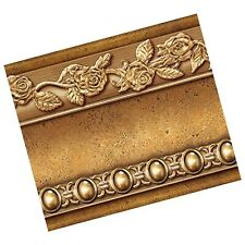 Flower Molding Peel and Stick Wall Border Easy to Apply (Gold Brown) Gold/Brown