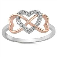 Sterling Silver 925 INFINITY HEART LOVE CLEAR CZ DESIGN PROMISE RING SIZES 4-10