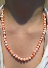Natural Pink Coral Bead Necklace + Fine Silver Art Deco Clasp. Coral Not Dyed.