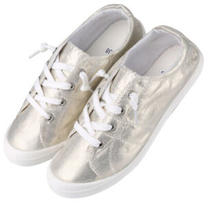 Women Fashion Slip On Glitter Canvas Casual Shoes Cozy Low Top Lace-Up Sneakers