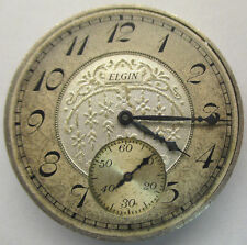 Antique 1933 Elgin Pocket Watch Movement & Accented Silver Dial 7j 12s *