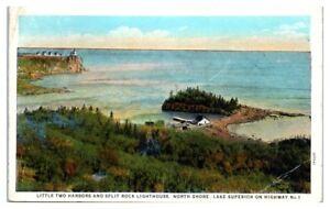 1928 Little Two Harbors, MN and Split Rock Lighthouse, Northshore Postcard RPO