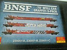 Micro-Trains # 99305780 BNSF Graffiti Well Car 3 Pack  #230051-A, -B, -C N-Scale