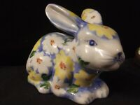 Vintage Andrea by Sadek Porcelain Bunny Penny Bank Blue With White/Yellow Floral