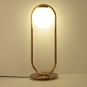 Black/Gold Metal Oval Ring with Glass Globe LED Bedroom Table Lights Beside Lamp