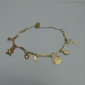 Vintage 9ct Solid Gold Charm Bracelet with Charms,Heart Padlock, Hallmarked