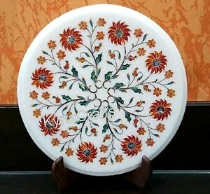 Round Marble Sofa Side Table Red Stone Inlaid Work Coffee Table Top 13 Inches