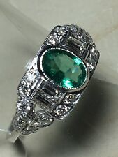 18ct.750. Deco Style. White Gold. Emerald & Diamond Ring. Size N. U.S. Size 7