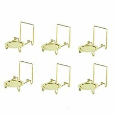 6pcs Tea Cup & And Saucer Stand Display Easels Brass Etched Base