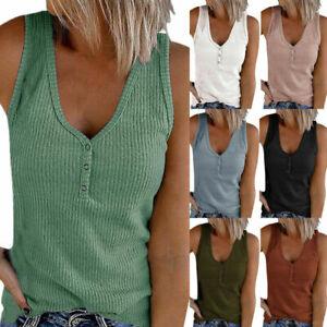 UK Plus Size Womens Sleeveless Vest Tank Tops Summer Casual T-Shirt Blouse Shirt