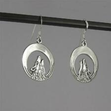 Howling Wolf Hook Earrings Drop/Dangle 0.925 Sterling Silver Made in USA
