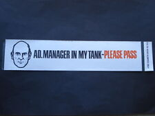 C1960S VINTAGE AD.MANAGER IN MY TANK-PLEASE PASS ESSO PETROLEUM Co ADV DECAL