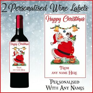 2 Personalised Father Christmas Wine Bottle Labels for gift or Table Decorations