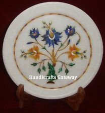 Stone Inlaid Decorative Marble Plate, Exclusive Marble Inlay Plate For Gifting