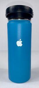 EUC RARE Hydro Flask Apple Computer Water Bottle Large 18 oz Blue Metal Vacuum