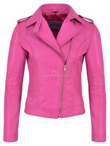 Ladies Brando Leather Jacket Fuchsia Pink Fashion Biker Rock Style Napa 442