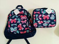 NWT Gymboree Girls Blue Butterfly Backpack and Lunchbox Set