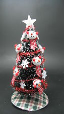 Dollhouse Miniatures Handcrafted  Christmas tree snowman w/red scarf snowflakes