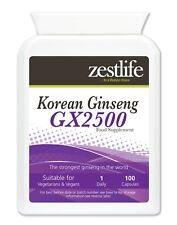 Zestlife Panax Ginseng coreano GX2500/100 Cápsulas-Boost para físico y mental