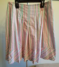 Women's Lilly Pulitzer Pink Multi-Color Striped Cotton Blend Skirt, Size 6