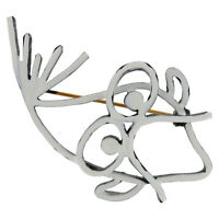Designer Signed Art Fish White Black Pin Brooch Vintage Jewelry 1960S