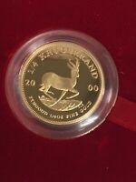 2000 SOUTH AFRICA KRUGERRAND GOLD GROOF 1/4 OZ COIN BOX & COA