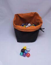 D&D Square Dice Bag - Orange Bag for Dice - Cotton - Drawstring Tile Pouch - RPG