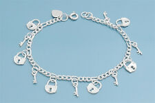 "Bracelet with Padlock Charms Sterling Silver 925 Jewelry Gift 7"" adjust to 8"""
