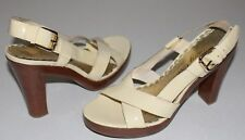 """Juicy Couture 8 M Ivory Patent Leather Slingback Sandals 4.3"""" Heel .75"""" Platform"""