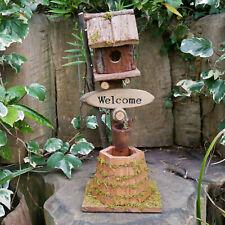 Maison en bois Oiseau Décoration De Jardin Fonction peint à la main Vintage Caravane Retro NEUF