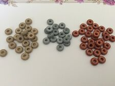 Beads Vintage Acrylic 3 Packs of 144 C'1960 Aqua  Beige and Coral 7.6mm