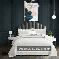 White Cotton Bedspread Quilted Throw Embroidered Bedding Set Single Double King