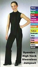 Sleeveless Jumpsuit Dance Costume Choice WHITE BLACK or ROYAL High Neck Catsuit
