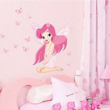 Fairy Princess Butterly Decal Art Mural Wall Stickers For Kids Baby Bedroom LJ