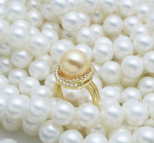 CHARMING AAA++ 11-12MM SOUTH SEA Akoya GENUINE Gold PEARL RING SIZE 8