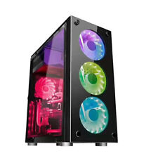 HD Micro ATX Mid Computer Gaming PC Case w/Tempered Glass Side Panel USB