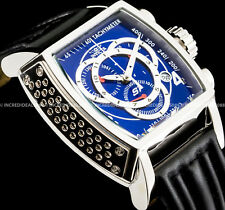 Invicta Tonneau S1 Rally Swiss Chrono Silver Blue Dial Leather Strap SS Watch