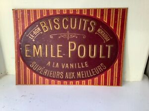 Rare Vintage original French Emile Poule Biscuit Metal sign/plaque