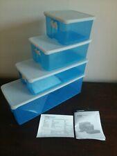 New listing Lot of 4: Tupperware FridgeSmart Blue White Containers (sm, med, med long, lrg)