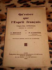 QU'EST-CE QUE L'ESPRIT FRANCAIS, 25 définitions choisies et annotées -1930