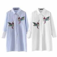 Stylish Women Floral Blouse Long Sleeve Casual Shirt Embroidery Bird Tops