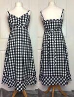 Jaeger Dress Size 12 Black And White Check Monochrome Pink Stitching