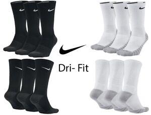 Nike 1, 3, 6 Pairs Socks Mens Cushioned Crew Quarter Sock Cotton Dri Fit Lot